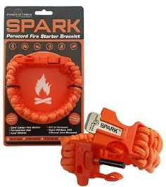 SPARK (TM) Fire Starter Outdoor Survival Paracord Bracelet Hunters Orange with Orange Whistle Side Release Buckle Kit with Scraper - Magnesium Fire Steel