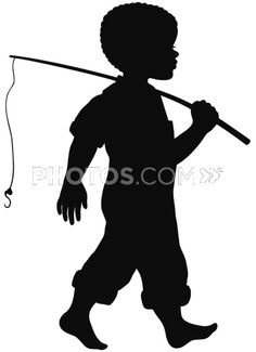 Stock Illustrations: Silhouette Of An African American Boy With Fishing