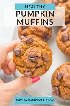 Healthy Pumpkin Muffins are a simple & delicious, low sugar fall breakfast. Naturally gluten + dairy free, made with oats & chocolate chips, these homemade muffins are easy to make and so tasty! #fall #pumpkin #glutenfree #healthy #muffins Healthy Muffin Recipes, Healthy Muffins, Healthy Sweets, Gluten Free Pumpkin, Healthy Pumpkin, Homemade Muffins, Recipe Cover, Fall Breakfast, On The Go Snacks