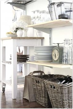 Open shelving to display dishes and kitchen wares is a basic necessity for a beach cottage kitchen. Kitchen Shelves, Kitchen Decor, Kitchen Storage, Pantry Storage, Kitchen Cart, Storage Baskets, Kitchen Organization, Kitchen Baskets, Kitchen Display
