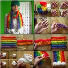 How to DIY Stylish Finger-Knitted Rainbow Scarf
