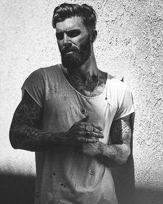Levi Stocke - black and white portrait full beard and mustache beards bearded man men tattoos tattooed bearding handsome #beardsforever