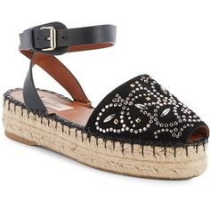 VALENTINO GARAVANI Beaded Leather Espadrilles (1.070.555 COP) ❤ liked on Polyvore featuring shoes, sandals, black flatform sandals, black leather espadrilles, leather espadrilles, valentino shoes and beaded sandals