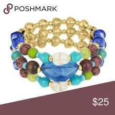 The Sak Blue Beaded Stretch Bracelet This stretchy bracelet is embellished in gold tone with colored stone , semiprecious stones and also embellished with crystals. The Sak Jewelry Bracelets