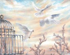 White Doves original acrylic painting on canvas flying out of open cage, sunset sky - Proverbs 29 inspirational religious art with birds Art Painting Gallery, Love Painting, Original Art, Original Paintings, Happy Paintings, White Doves, Diy Canvas Art, Religious Art, Buy Art