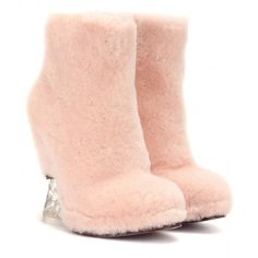 Fendi Fur Wedge Ankle Boots ($875) ❤ liked on Polyvore featuring shoes, boots, ankle booties, pink, heels, ankle shoes, short heel boots, bootie boots, wedge boots and heeled booties