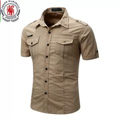 Men's Short Sleeve Safari Style Cargo Shirt Fashion Casual Uniform Military Style Cotton Solid Male Casual Shirt Khaki Grey - h , Casual Shirts For Men, Men Casual, Casual Clothes, Cargo Shirts, Men Shirts, Tactical Shirt, Marshall, Military Fashion, Military Style