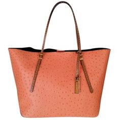 Pre-owned Michael Kors Gia Ostrich Embossed Peach Tote Bag