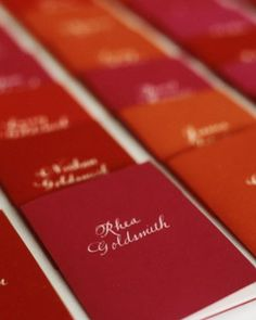 """I like the idea of a """"Personalized Program"""" - guests can find escort cards and all sort of personalized info and maybe a handwritten message"""
