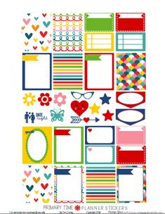 glam planner printables | Primary Time Planner Stickers - Free printable - Vintage ...
