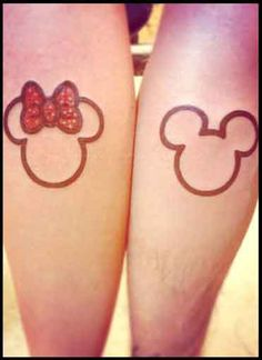 30 Cool Couple Matching Tattoos - Mickey and Minnie