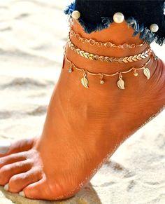 Cdet Bracelet de Cheville en /Étoiles et Perles avec Double anklets Anklet en Argent pour Femme avec cha/înette Mode /él/égante Plage