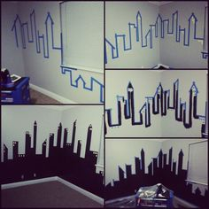 Phases of Gotham City for my son's Batman room. Step one, tape... 2 Windows, 3 cut in,4 add tape for Windows, 5 role on the black... tip, remove tape while paint is still wet.