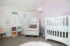 Beautiful pink wallpaper accent wall and modern gallery wall - #projectnursery