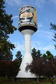 Libby water tower in Sunnyvale, CA. Libby's is where my dad worked until he retired in the early 70's