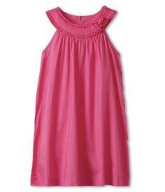 United Colors of Benetton Kids Girls' Solid Woven Dress w/ Rose (Toddler/Little Kids/Big Kids) Bright Pink - Zappos.com Free Shipping BOTH Ways