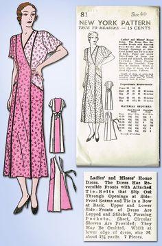 1930s Original Stunning RARE Unused Hoverette House Dress Pattern Sz 40 Bust | eBay