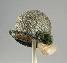 ~Cloche Hat - c. 1926 - Straw, silk~