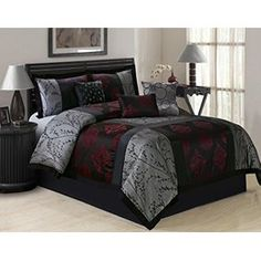 7 Piece SHANGRULA Big Square Patchwork Jacquard Comforter Sets Queen King CalKing Queen GrayRed >>> Learn more by visiting the image link. Queen Size Comforter Sets, Bedroom Comforter Sets, King Size Comforters, Cal King Bedding, Red Bedding, Bedroom Sets, Luxury Bedding, Bedroom Decor, Black Bedding Sets