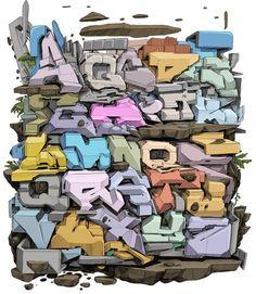 Alphabets - graffiti \ street art - 153 photos   VK Graffiti Text, Graffiti Lettering Fonts, Graffiti Pictures, Graffiti Writing, Tattoo Lettering Fonts, Urban Graffiti, Graffiti Tagging, Graffiti Murals, Graffiti Styles