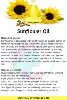 Sunflower Oil General Information and Beauty DIY Essential Oil Perfume, Essential Oil Uses, Sunflower Oil Benefits, Natural Oils For Skin, Healing Oils, Infused Oils, Carrier Oils, Herbalism, Spa