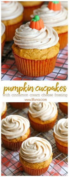 Cupcakes with Cinnamon Cream Cheese Frosting (+VIDEO) Delicious Pumpkin Cupcakes with Cinnamon Cream Cheese Frosting - the perfect fall treat!Delicious Pumpkin Cupcakes with Cinnamon Cream Cheese Frosting - the perfect fall treat! Brownie Desserts, Mini Desserts, Fall Desserts, Just Desserts, Delicious Desserts, Yummy Food, Delicious Cupcakes, French Desserts, Plated Desserts