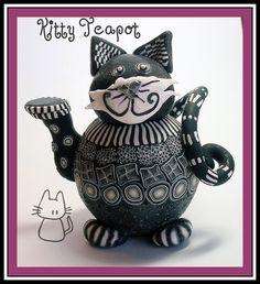 Kitty Teapot  polymer clay over a small light bulb