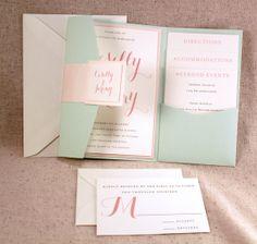 Schöne Mint Pocket-fold Einladung zur Hochzeit mit zartrosa Korallen auf Elfenbein festgelegt auf Etsy, 2,27€