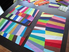 Not exactly a tutorial, but fun idea for blocks of solids. Future table runner/placemats? I especially like the irregular, curvy seams!