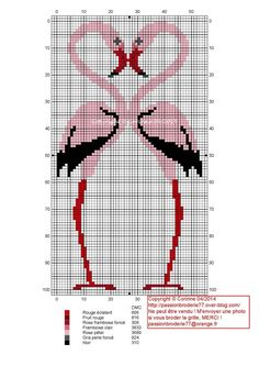 Cross-stitch Flamingo...   Flammands rose
