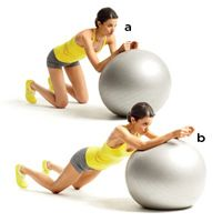 Kneel in front of a stability ball with your knees hip-width apart, then place your forearms on the ball, hands in loose fists.  (a) Keeping your back flat, brace your core and slowly roll the ball away from you by straightening your arms; extend as far as you can without allowing your hips to drop.  (b) Pause, then bend your elbows to roll the ball back to start.