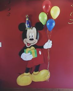 Painted this Mickey Mouse for my nephew. I used a cardboard background that really made the colors pop. He has a real hat and real balloons.