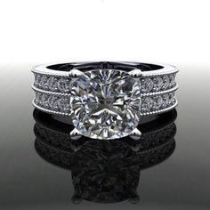 Forever Brilliant Moissanite and Diamond Engagement Ring 3.50 CTW – Bel Viaggio Designs