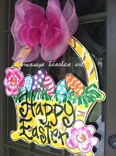 Easter Basket Door Hanger Bronwyn Hanahan by BronwynHanahanArt