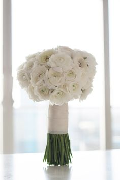 white ranunculus bouquet white wedding flowers - Passion for Flowers ~ Blog