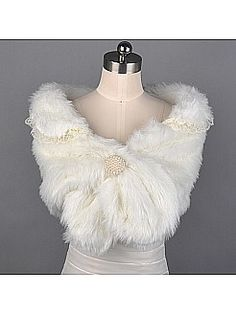 Lace Trimmed Ivory Faux Fur Bridal Wrap with Pearls - USD $13.69