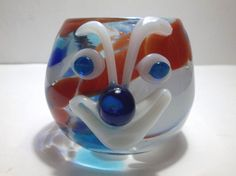 Vintage MURANO Art Glass CLOWN Candle Holder RED White BLUE