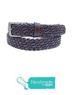 "Dark Blue and Brown Adjustable Leather Belt 126 cm (49.61"") BLT770 from Nazo… #handmadeatamazon #nazodesign"