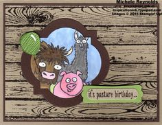 Handmade belated birthday card using Stampin' Up! products - From the Herd Photopolymer Stamp Set, Hardwood background stamp, Window Frames Collection Framelits, Chalk Marker, Blendabilities Markers, Modern Label Punch, and Word Window Punch.  By Michele Reynolds, Inspiration Ink, http://inspirationink.typepad.com/inspiration-ink/2015/02/from-the-herd-window-frame-animals.html.  #stampinup #blendabilities #hardwood #fromtheherd