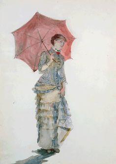 Marie Bracquemond Woman with an Umbrella=Marie-Louise Adélaïde-Eugénie Sisley(*1834-98) - Sisley's wife
