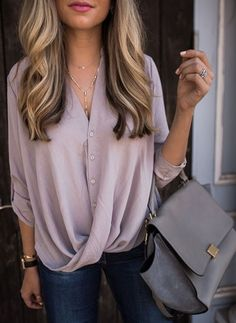 Faux Wrap Blouse - Shirt Casuals - Ideas of Shirt Casual - Ashley Robertson Wearing Kendra Scott Grant Y Necklace Mode Outfits, Casual Outfits, Fashion Outfits, Classy Outfits, Casual Summer Outfits For Work, Fashion Boots, Casual Office Attire, Woman Outfits, Outfit Summer