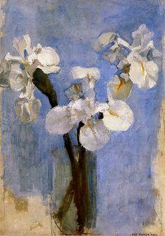 Piet Mondrian:  White Irises against Blue Background (c.1909)