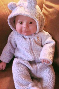 Adorable baby in bear coat!