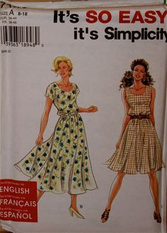 """Flared Dress- 1990's -Simplicity Pattern 7148  Uncut   Sizes 8 -10-12-14-16-18  Bust 31.5-32.5-34-36-38- 40"""""""