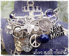 US Navy mom adjustable bangle charm bracelets by Son and Sea ~ arm candy for deployment, homecoming, PIR.