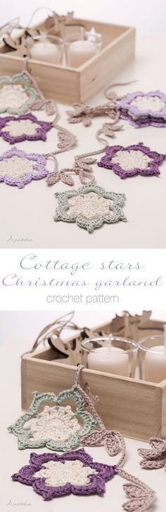 Cottage stars Christmas garland pattern by Anabelia Craft Design