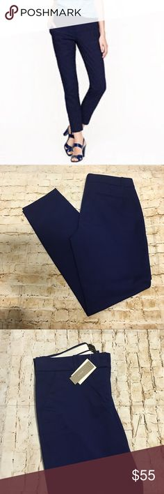 """J crew. Cafe Capri navy blue Crafted in crisp, clean cotton with a hint of stretch, this is that one perfect-fitting piece to anchor your wardrobe.  City fit—our lowest rise. Sits just above hip. Fitted through hip and thigh, with a straight, cropped leg. Cotton with a hint of stretch. 27"""" inseam. Size 2T J. Crew Pants Ankle & Cropped"""
