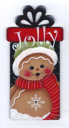 A Jolly Present Gingerbread Painting van GingerbreadCuties op Etsy