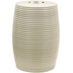 "18"" Beige Ribbed Porcelain Garden Stool - OrientalFurniture.com $124"