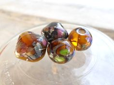 Lampwork Beads Silver and Silvered Amber by CandanLampworkBeads